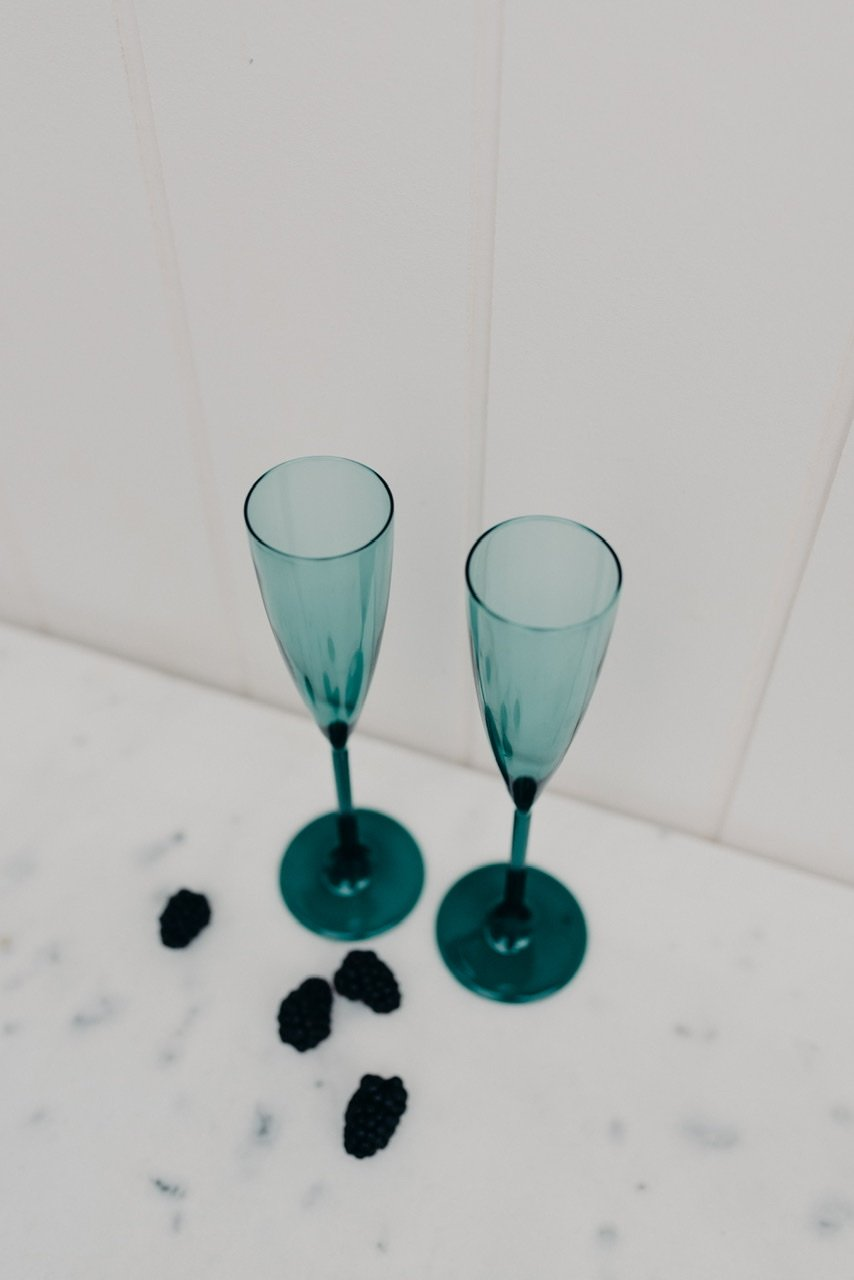 SET OF 2 FLUTES - TEAL