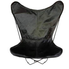 Load image into Gallery viewer, JET BLACK COWHIDE BUTTERFLY CHAIR - Lux & Hide