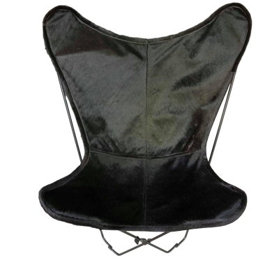 JET BLACK COWHIDE BUTTERFLY CHAIR