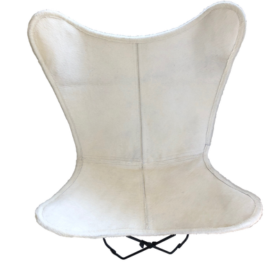 PURE WHITE COWHIDE BUTTERFLY CHAIR
