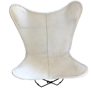 PURE WHITE COWHIDE BUTTERFLY CHAIR - Lux & Hide