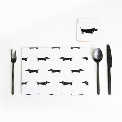 Dapper Dachshund Placemats Set of 4 | Black & White