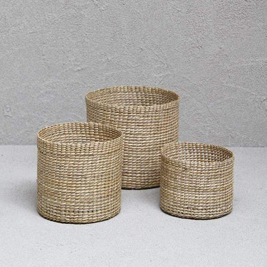 Trio of Round Grass Baskets - Tall