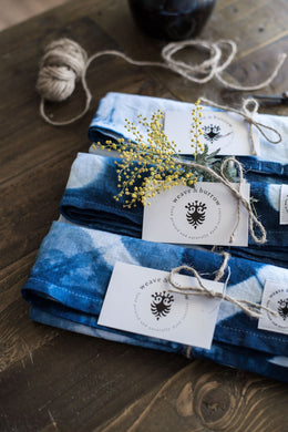 Set of two Indigo Dyed Linen Tea Towels