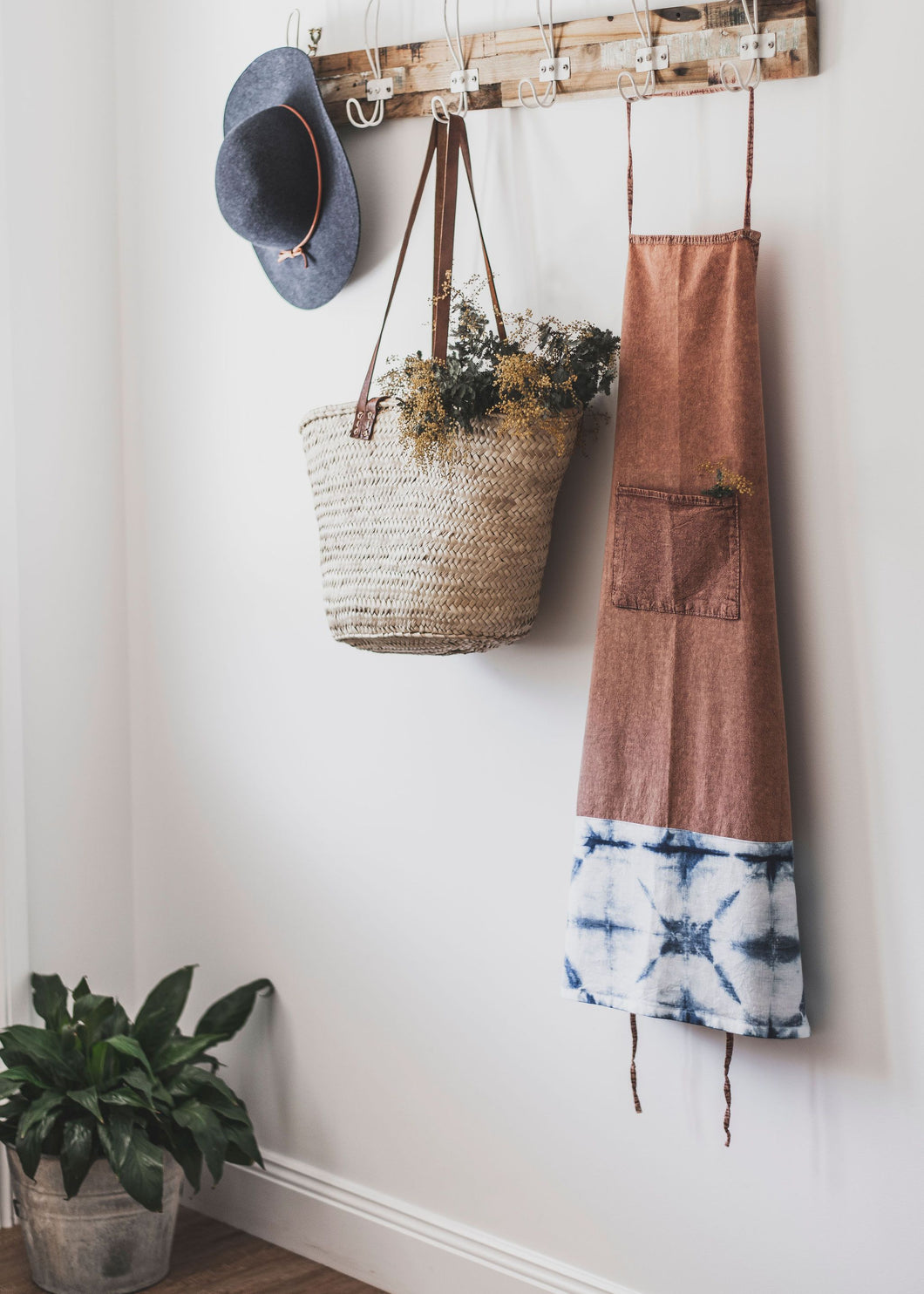 Chai Stonewash Cotton Apron with Shibori Detail