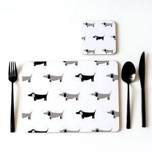 Dachshund Panache Placemats Set of 4 | Black & White