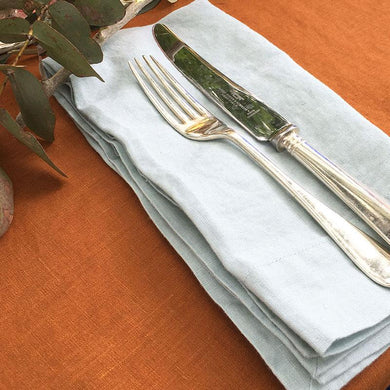 Pair of 'Duck Egg' Linen Napkins