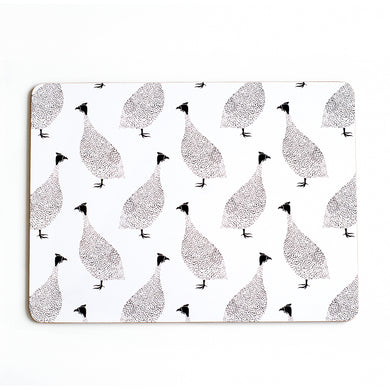 Guinea Fowl Placemats Set of 4 | Black & White