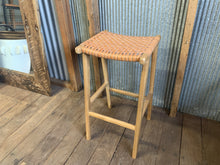 Load image into Gallery viewer, Hattie Leather and Teak bar stool