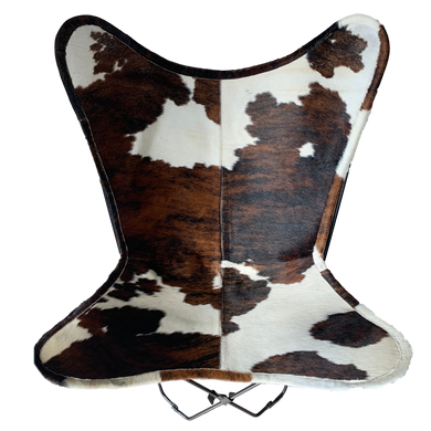 BRINDLE + WHITE COWHIDE BUTTERFLY CHAIR - Lux & Hide