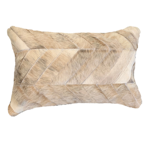 COWHIDE PATCHWORK CUSHION | BEIGE - Lux & Hide
