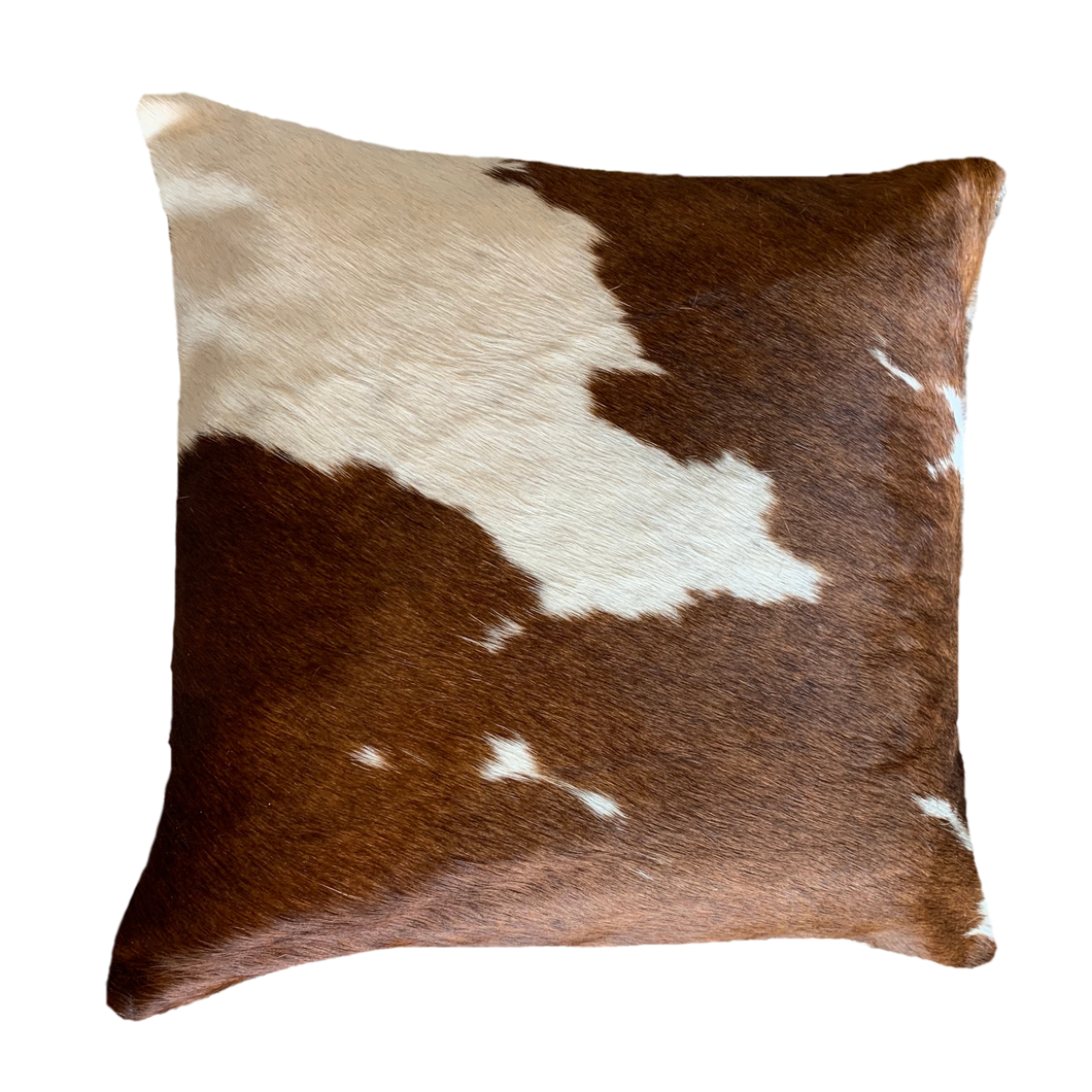 COWHIDE CUSHION | BROWN + WHITE