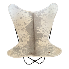 Load image into Gallery viewer, GREY + WHITE COWHIDE BUTTERFLY CHAIR - Lux & Hide