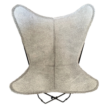 Load image into Gallery viewer, LIGHT GREY COWHIDE BUTTERFLY CHAIR - Lux & Hide