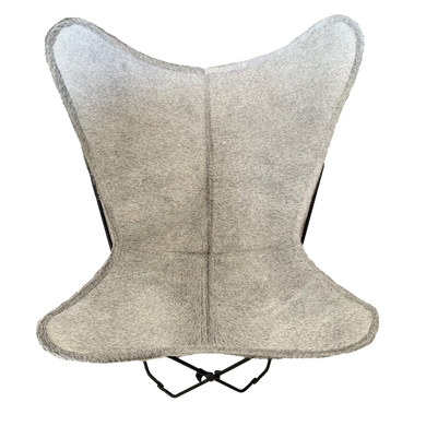 LIGHT GREY COWHIDE BUTTERFLY CHAIR