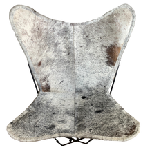Load image into Gallery viewer, BLACK + WHITE SPECKLE COWHIDE BUTTERFLY CHAIR - Lux & Hide