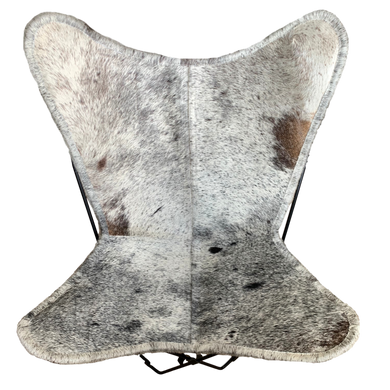 BLACK + WHITE SPECKLE COWHIDE BUTTERFLY CHAIR