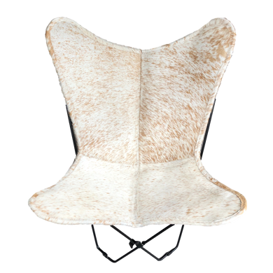 WHITE + BROWN SPECKLE COWHIDE BUTTERFLY CHAIR