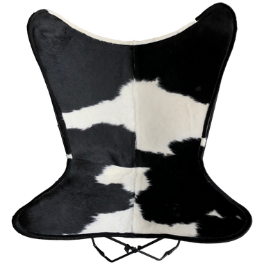 WHITE + BLACK COWHIDE BUTTERFLY CHAIR