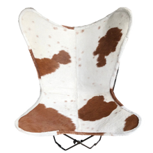Load image into Gallery viewer, BROWN + WHITE COWHIDE BUTTERFLY CHAIR - Lux & Hide