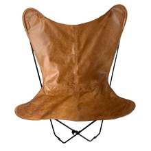 Load image into Gallery viewer, TAN LEATHER BUTTERFLY CHAIR