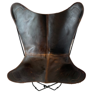 VINTAGE BROWN LEATHER BUTTERFLY CHAIR - Lux & Hide