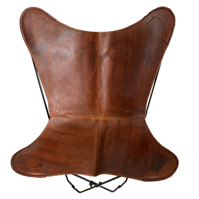 VINTAGE REDISH BROWN LEATHER BUTTERFLY CHAIR - Lux & Hide