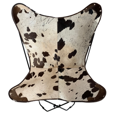 BROWN + WHITE SPECKLE COWHIDE BUTTERFLY CHAIR