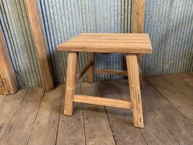 Lucie rustic rectangular stool