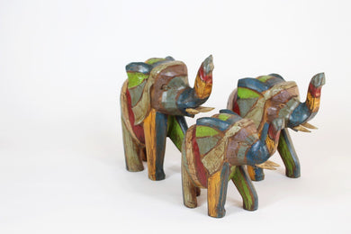 Multi-Coloured Wooden Elephant