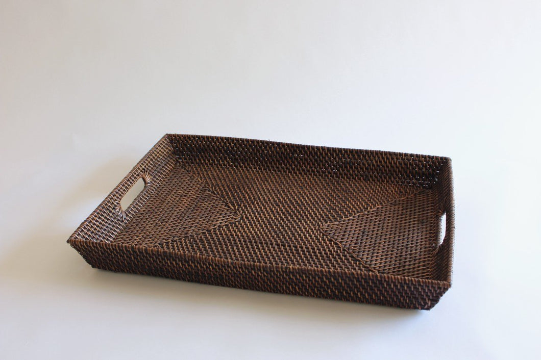 Rectangular rattan tray with handles