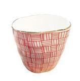 Cup Red 'Latte' x 2 with Gold Rim
