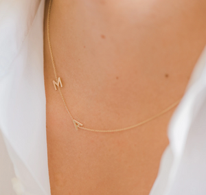 14k Gold Asymmetrical Multiple Initial Necklace
