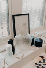 Load image into Gallery viewer, KAAWI MOUTH BLOWN & HANDCRAFTED CUT GLASS CARAFE & TUMBLER - SEA GLASS DIAMOND