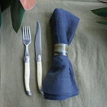 Load image into Gallery viewer, Pair of 'Truffle Navy' Linen Napkins