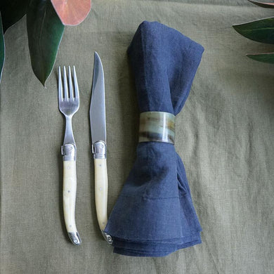 Pair of 'Truffle Navy' Linen Napkins