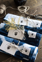 Load image into Gallery viewer, Set of three Indigo Dyed Linen Tea Towels