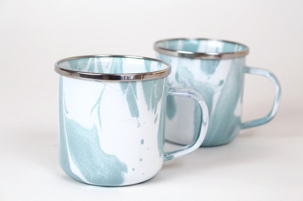 Blue Swirl Enamel Coffee Mug
