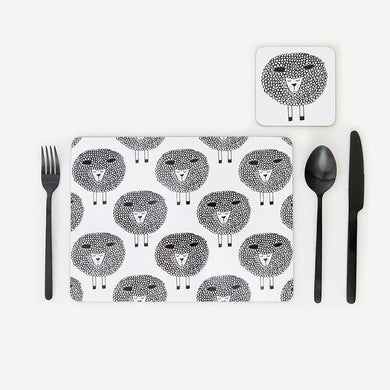 Snoozy Sheep Placemats Set of 4 | Black & White