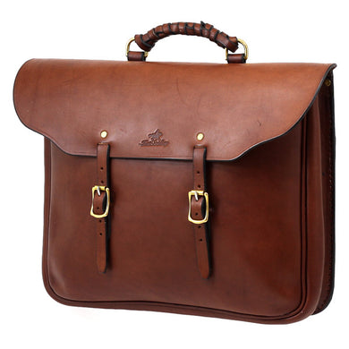 Station Briefcase, Solid Leather, with buckles and handle