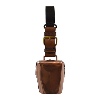 Condamine Cow Bell, with Leather Ringer, Leather Strap and Metal Hanger