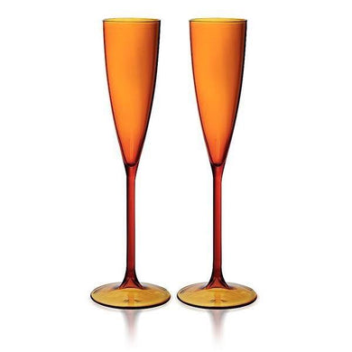 SET OF 2 FLUTES - AMBER
