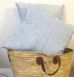Striped Blue & White Cushion