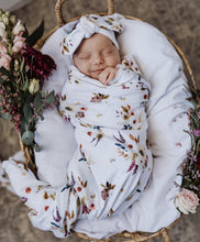 Load image into Gallery viewer, Snuggle Hunny Kids Boho Posy Swaddle Wrap and Top Knot Set