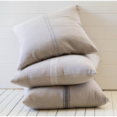 Bien Cushion with Vintage Grey Grainsack Stripe