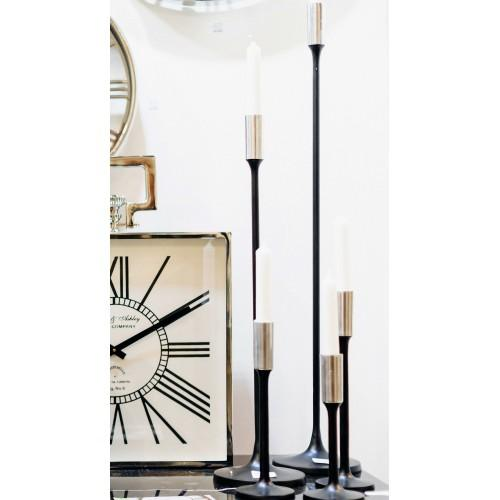 Candle Holder | Black and Nickel