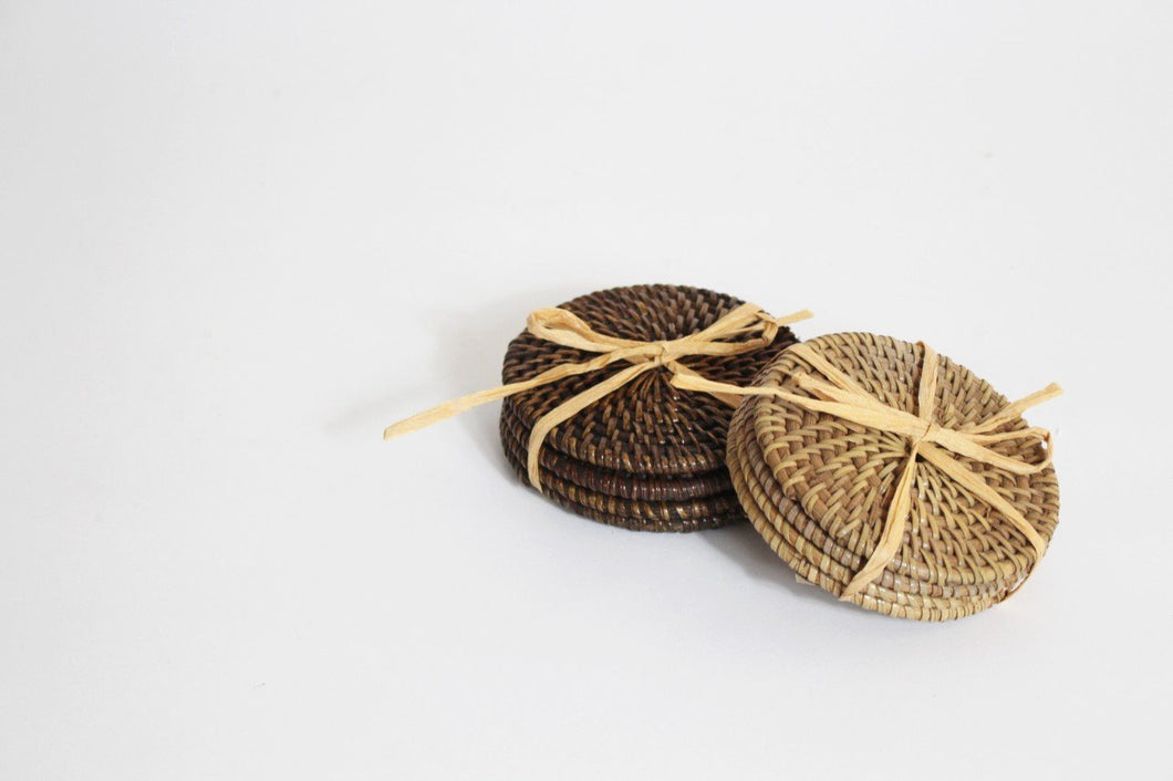 Rattan Drink Coasters (Set of 4)