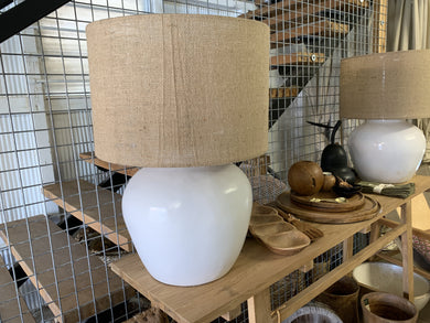 Heidi White Glazed Terracotta Table Lamp