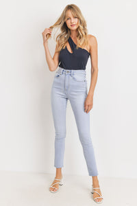 Slim Straight Raw Hem Jean - Light Blue