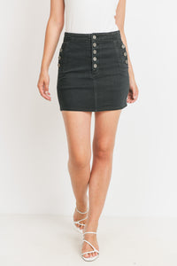 Button Fly Skirt - Black